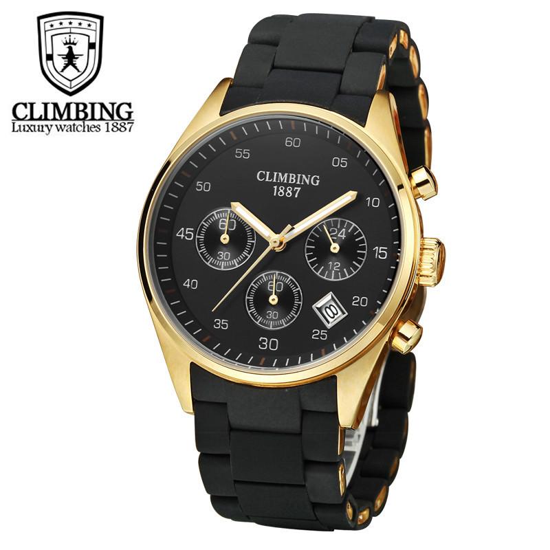 CLIMBING攀登瑞士手表 男士手表 全球限量18k金三眼防水手表