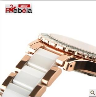瑞贝拉正品时尚大表盘陶瓷手表 女 白色钻石女表韩国女士手表5003