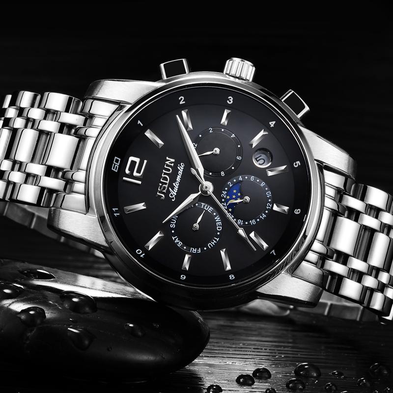 金仕盾正品男表全自动机械表防水时尚商务精钢夜光多功能男士手表