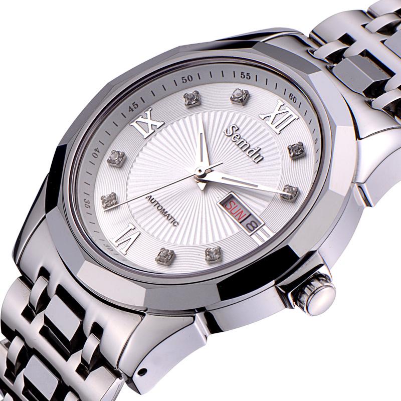 瑞士绅度正品 男士钨钢手表 全自动机械表 商务防水钻表 镂空男表