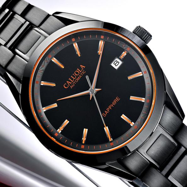 正品卡罗莱全自动机械表品牌全黑色手表男士商务时尚防水经典男表