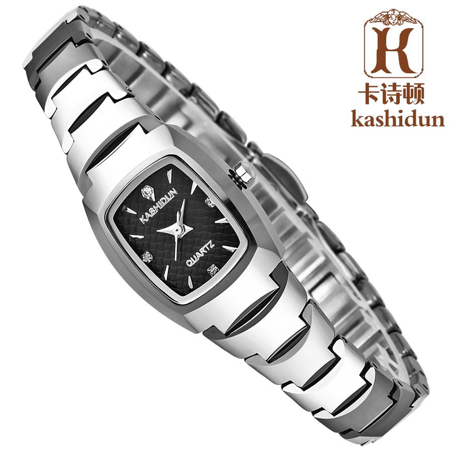 卡诗顿正品 防水钨钢女士手表 玫瑰金女表水钻表 复古表 手表女